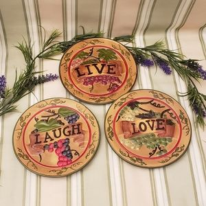 Vintage Live. Laugh. Love. Grapes and Vines Plates